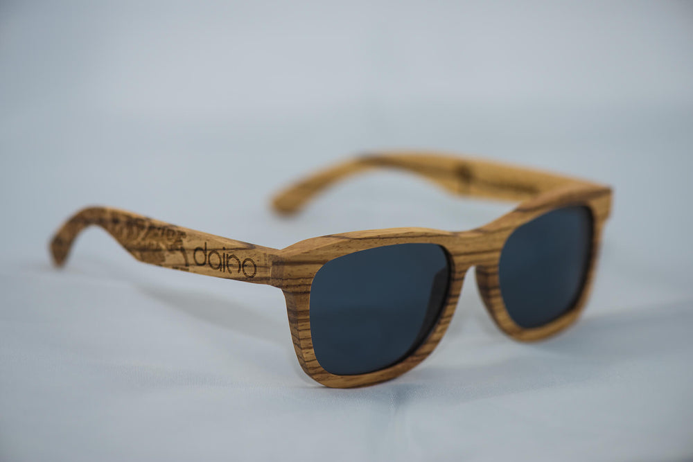 Polarized Zebra Wood Sunglasses - Engraved - Daino Wood