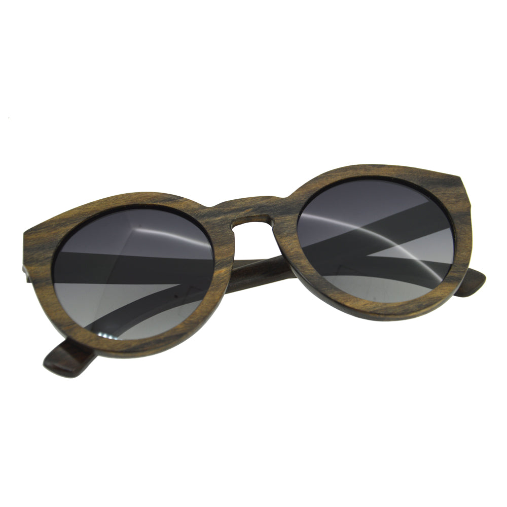 Polarized Cat-eye Black Sandalwood Sunglasses - Daino Wood
