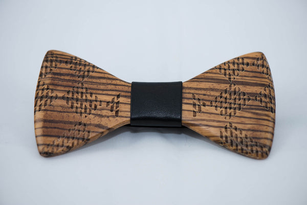 Engraved Zebra Wood BowTie - 2 Cloth Options - Daino Wood