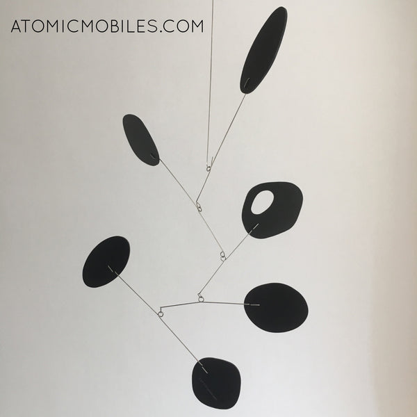 Black JetSet Art Mobile - modern hanging kinetic art shipped to client in Brazil