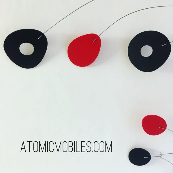 Red and Black ModCast Hanging Art Mobile made for client in France by AtomicMobiles.com