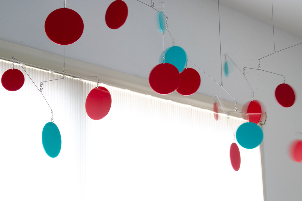 Adorable Red and Aqua blue dancing hanging mobile by AtomicMobiles.com