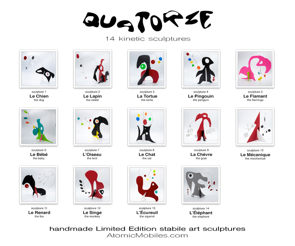 14 NEW Adorable Animal Inspired Art Stabiles - Quatorze - by AtomicMobiles.com