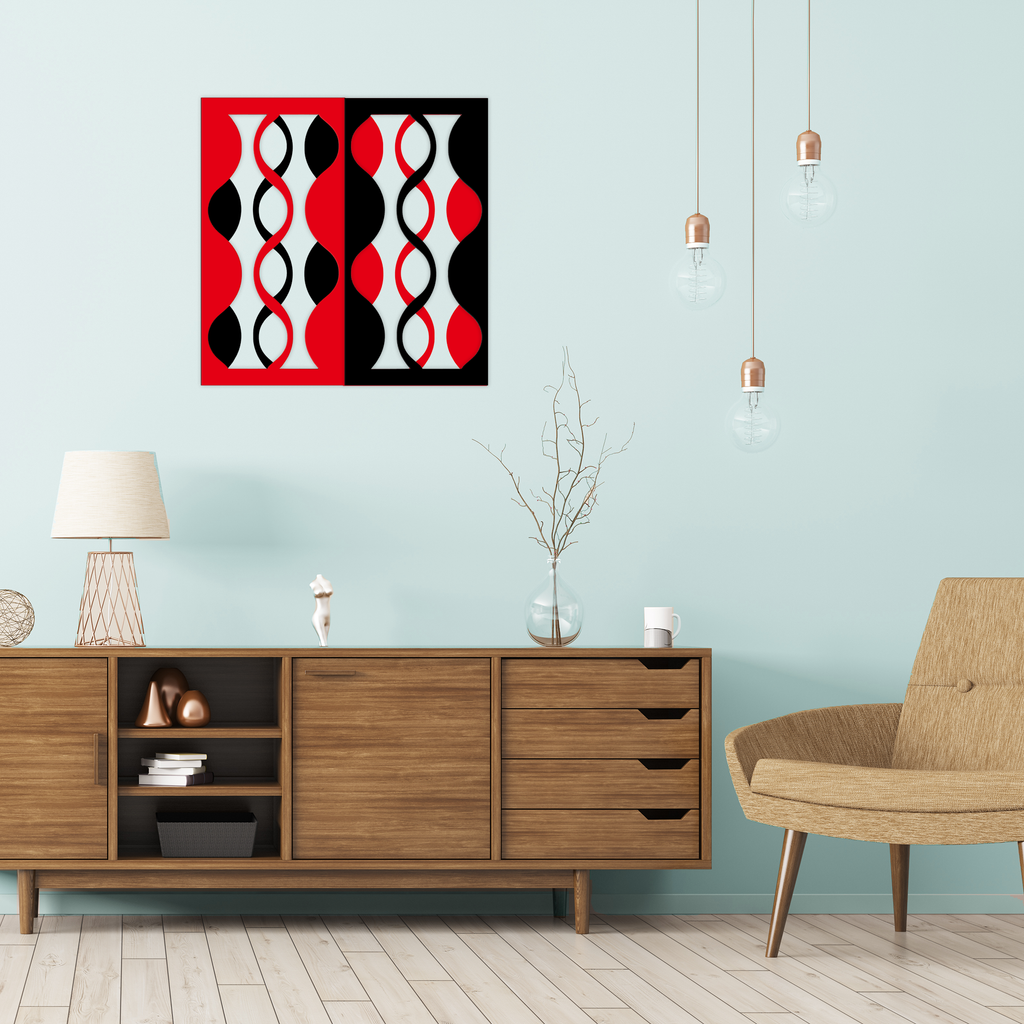 mingle mid century modern wall art for modern home decor - red and black wall panels with MCM credenza and chair - by AtomicMobiles.com