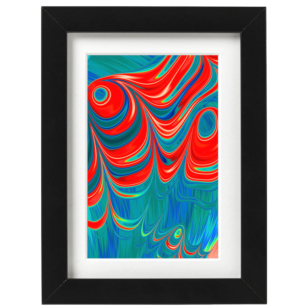 Bold dramatic modern abstract art print in black picture frame by AtomicMobiles.com