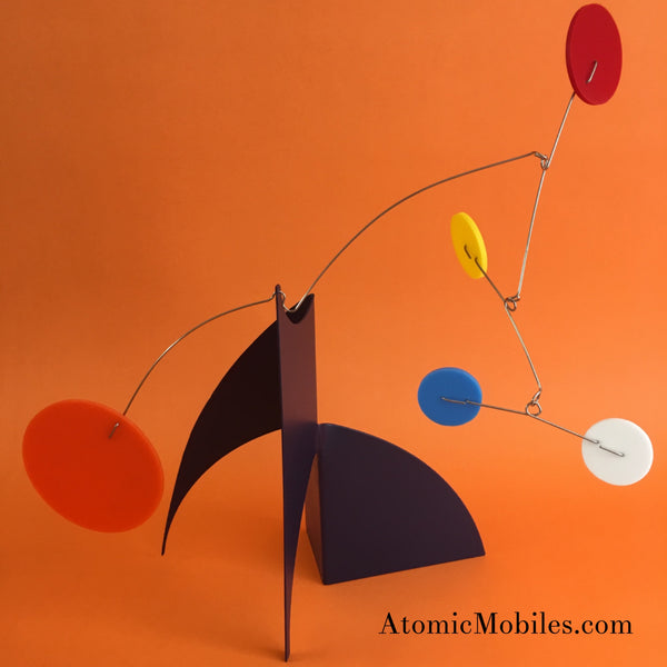 Moderne Stabile by AtomicMobiles.com - navy orange red yellow blue white - custom handmade kinetic sculpture