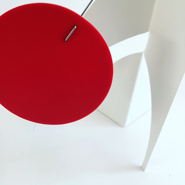 The Moderne Desktop Mobile in red and white by AtomicMobiles.com - modern hanging art inspired by Calder
