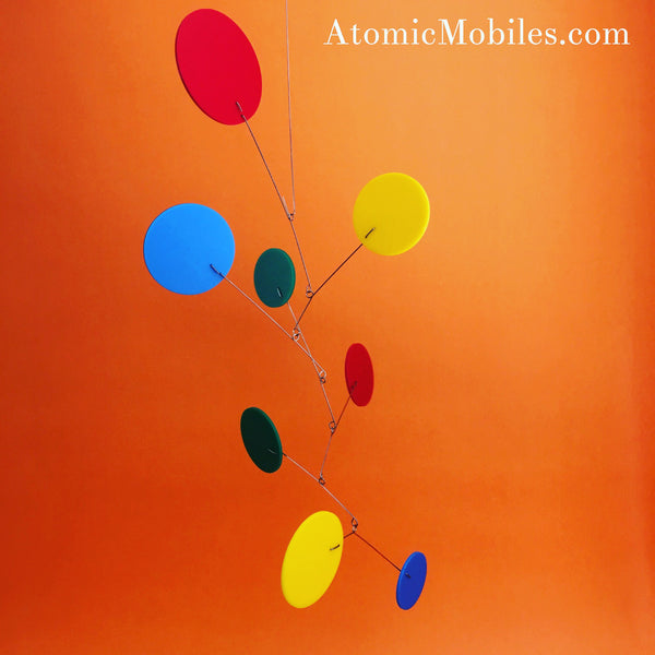 Colorful Exuberant Hanging Art Mobile by AtomicMobiles.com - custom handmade kinetic sculpture