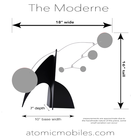 Measurements for The Moderne Art Stabile tabletop mobiles in exotic plexiglass acrylic - handmade in Los Angeles by AtomicMobiles.com