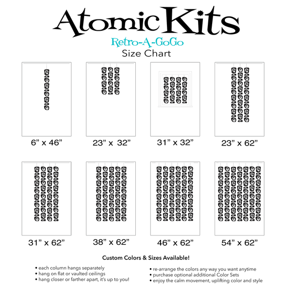 Size Chart for Retro-A-GoGo Mid Century Modern Retro Room Dividers, Mobiles, and Curtains by AtomicMobiles.com