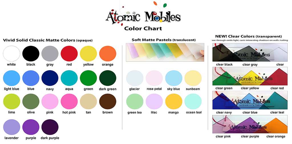 Atomic Kits and Atomic Screens Color Chart by AtomicMobiles.com