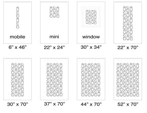 Size Chart for Atomic Beatnik Party Screens Kits - Modern Room Dividers, Partitions, and Window Treatments by AtomicMobiles.com