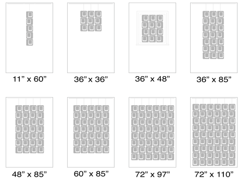 Size Chart for Atomic Coolsville Screens Kits - Modern Room Dividers, Partitions, and Window Treatments by AtomicMobiles.com