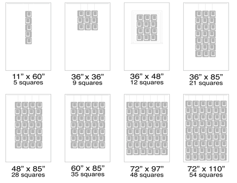 Suggested sizes for 11 inch Coolsville Atomic Screens - Modern Room Dividers, Partitions, and Window Treatments by AtomicMobiles.com