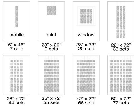 Suggested sizes for Atomic Screens - Modern Room Dividers, Partitions, and Window Treatments by AtomicMobiles.com
