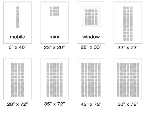 Size Chart suggested sizes for Atomic Screens - Modern Room Dividers, Partitions, and Window Treatments by AtomicMobiles.com
