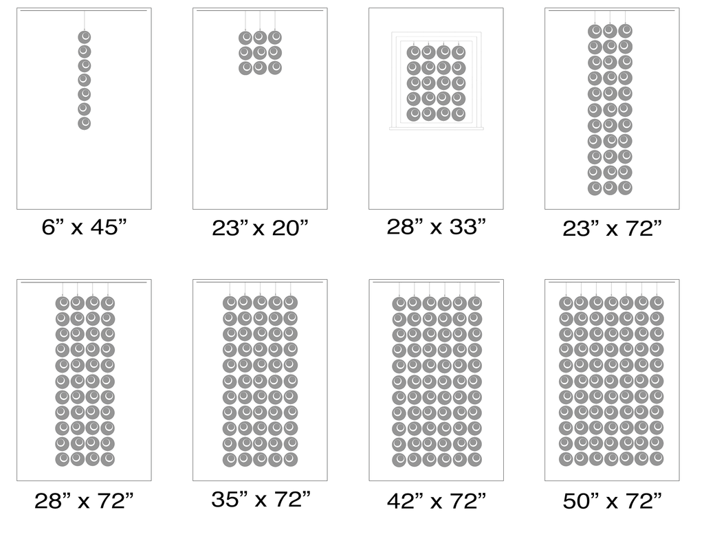 Size Chart for suggested sizes for Groovy Atomic Screens Kits - Modern Room Dividers, Partitions, and Window Treatments by AtomicMobiles.com+
