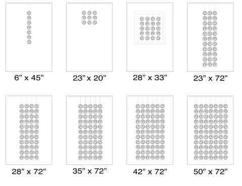 Size Chart for suggested sizes for Groovy Atomic Screens Kits - Modern Room Dividers, Partitions, and Window Treatments by AtomicMobiles.com