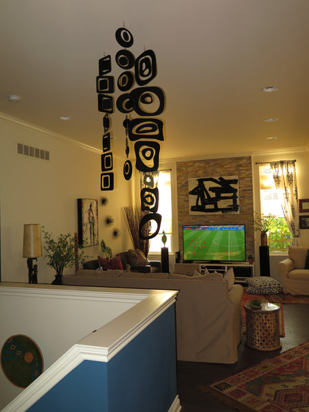 Trio of Vertical Mobiles in client home in Michigan - custom made by AtomicMobiles.com