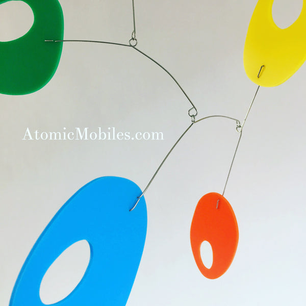 Colorful Retro Hanging Art Mobile by AtomicMobiles.com - custom handmade kinetic sculpture