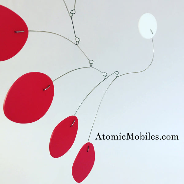 Red MCM Hanging Art Mobile by AtomicMobiles.com - custom handmade kinetic sculpture