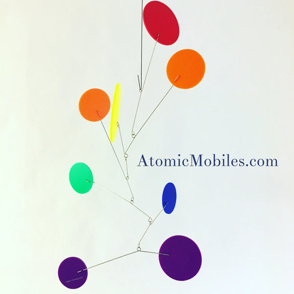 Rainbow Exuberant Hanging Art Mobile by AtomicMobiles.com - LGBTQ custom handmade kinetic sculpture