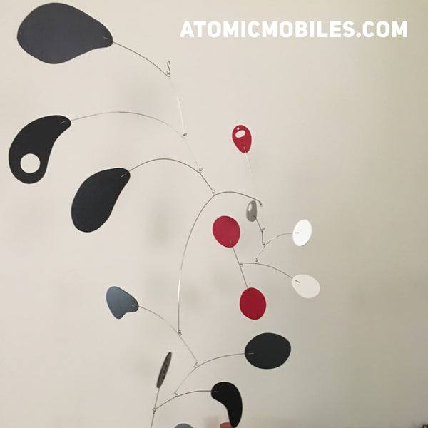 CoolCat in red black white and gray custom handmade modern hanging art mobile for client in WA, by AtomicMobiles.com