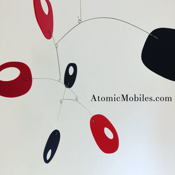 Red and black Retro modern art mobile by AtomicMobiles.com created for client in Culver City CA