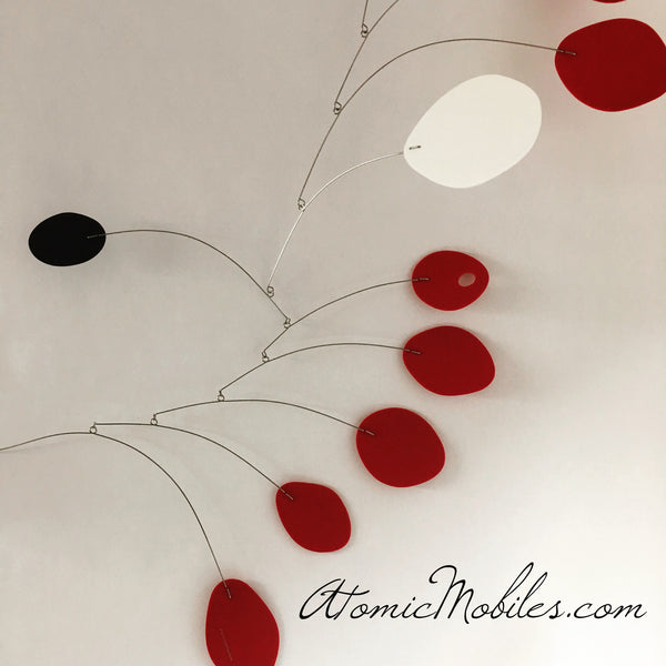 Classic red black and white MCM mid century modern hanging art mobile by AtomicMobiles.com