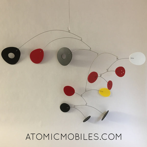 Black, red, white, yellow ModCast modern hanging art mobile inspired by Calder by AtomicMobiles.com