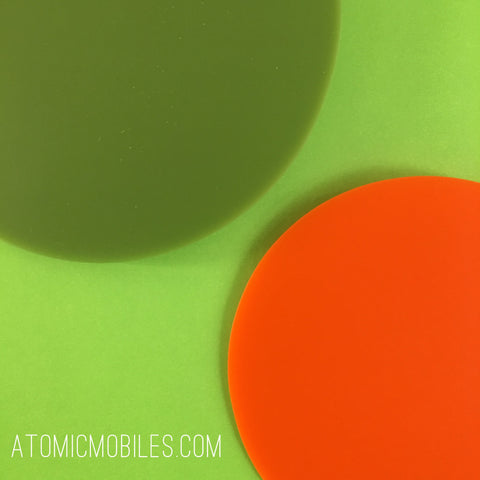 MOD Mobile in olive and orange - hanging modern art - by AtomicMobiles