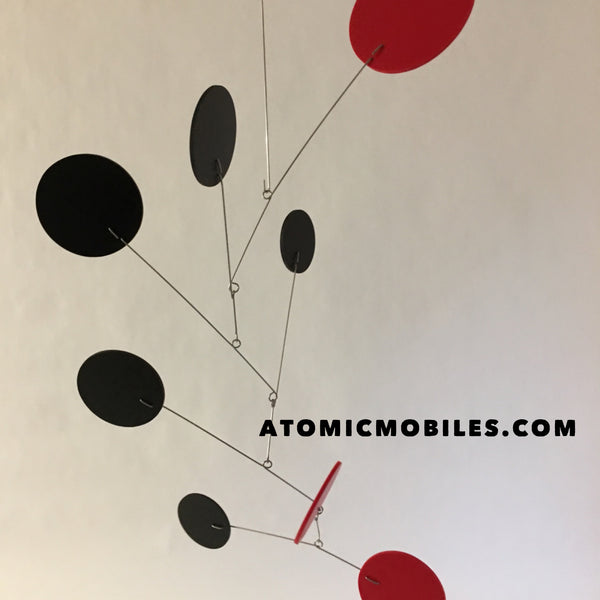 Black and red Exuberant modern hanging art mobile custom handmade for client in NC by AtomicMobiles.com