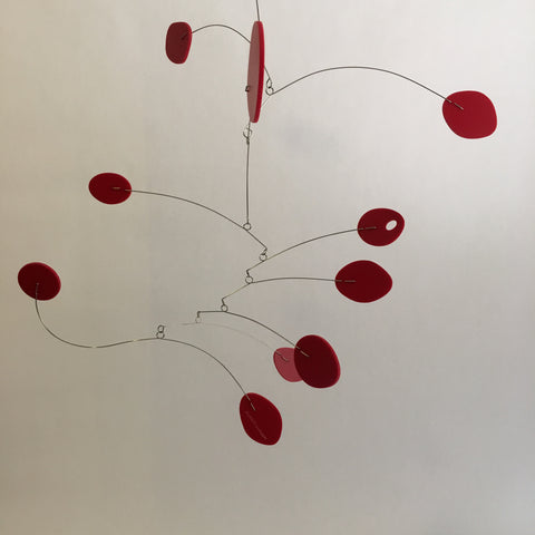 All red kinetic art mobiles by AtomicMobiles.com - custom handmade to order by Debra Ann