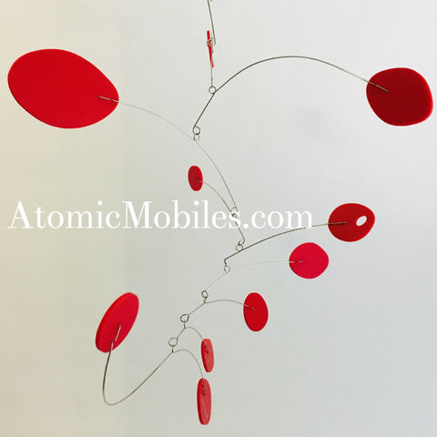 All red Calder Inspired hanging art mobile handmade for client in MD - by AtomicMobiles.com
