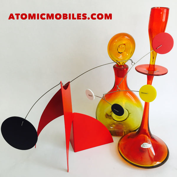 The Moderne Stabile by AtomicMobiles.com with vintage Blenko glass
