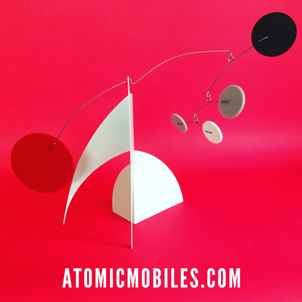 Dramatic white red black and gray The MODERNE stabile - table top mobile by AtomicMobiles.com