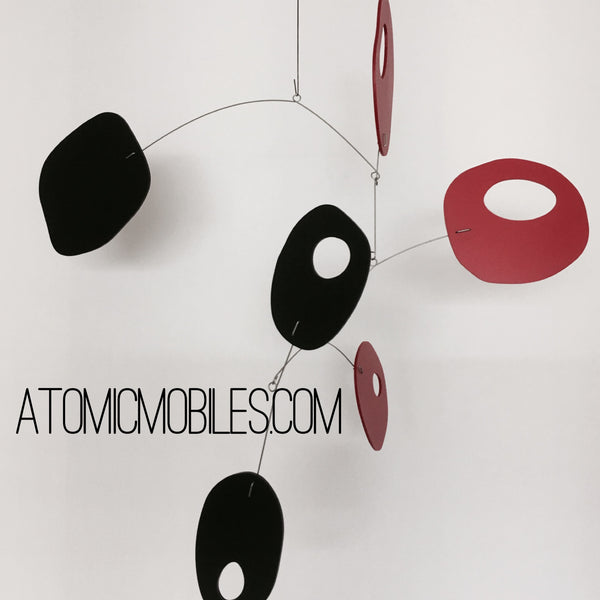 Retro Hanging Art mobile in Red and Black by AtomicMobiles.com