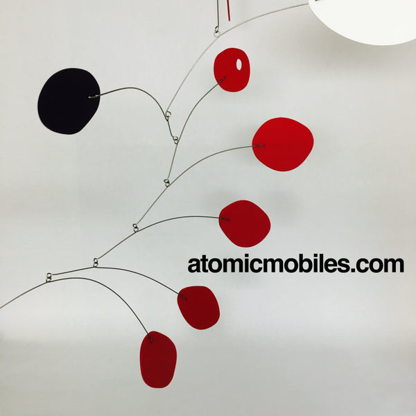 MCM hanging art mobile in red black and white by AtomicMobiles.com