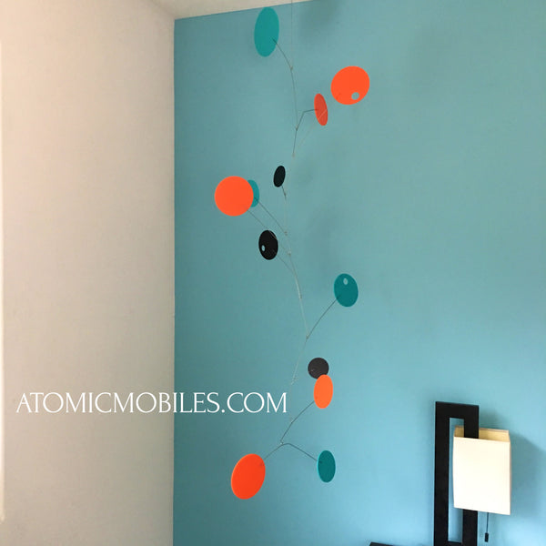 Super cool gorgeous 5 foot SPACE AGE hanging art mobile for client in West Hollywood by AtomicMobiles.com
