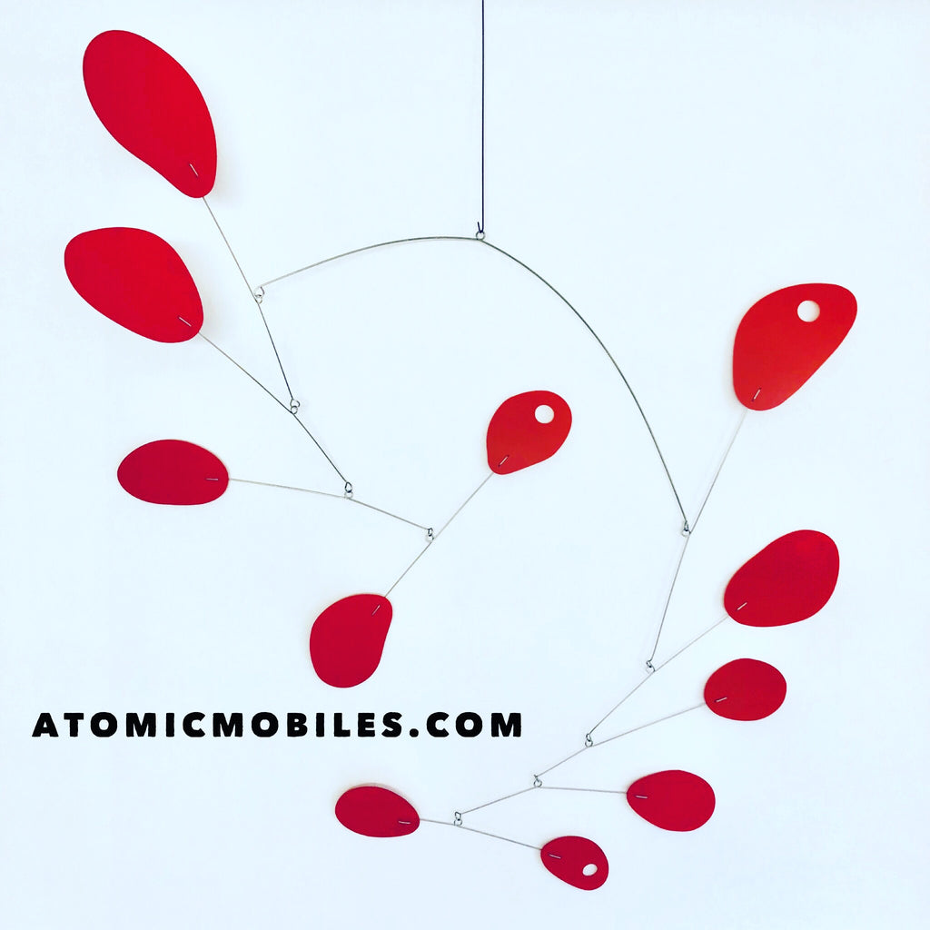 All red Mobilized hanging art mobile inspired by Calder for Benjamin Moore by AtomicMobiles.com