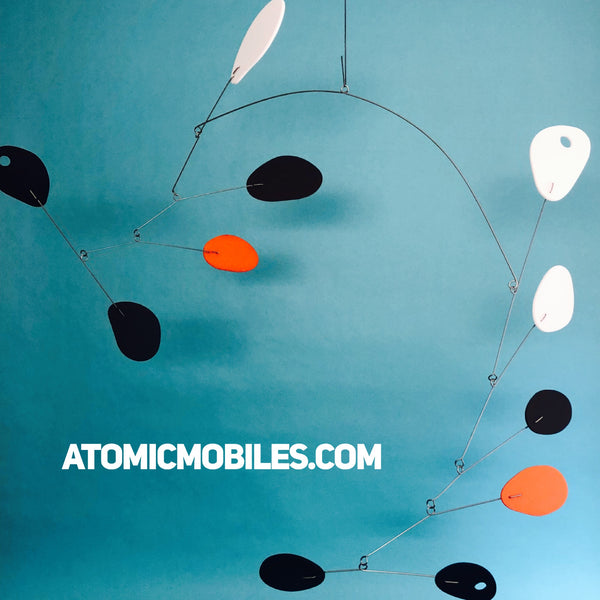 Mobilized Hanging Art Mobile by AtomicMobiles in black, orange, white and brown