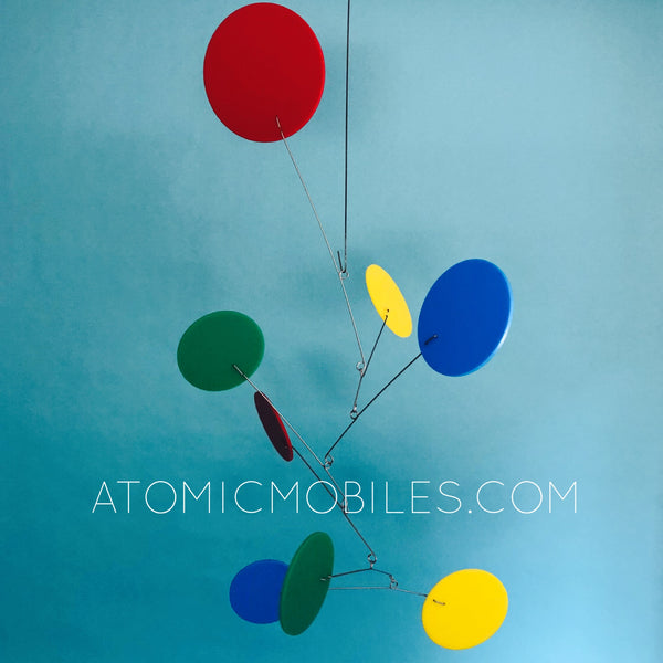 Exuberant Mid Century Modern Art Mobile in red blue yellow and green by AtomicMobiles.com
