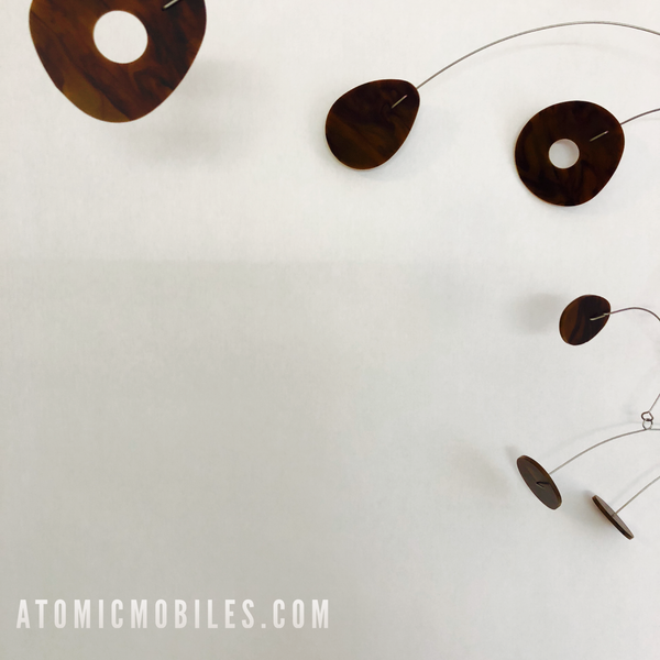 Tortoise Shell ModCast Modern Hanging Art Mobile by AtomicMobiles.com - Danish Modern inspired kinetic art