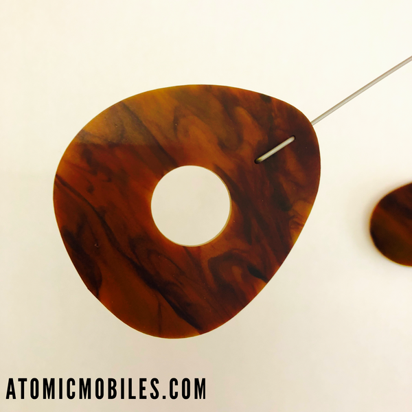Closeup of Tortoise Shell Modern Kinetic Art Mobile by AtomicMobiles.com
