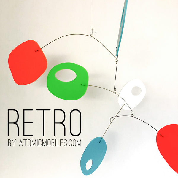 Orange, Lime Green, Aqua Blue RETRO style mobile by AtomicMobiles.com