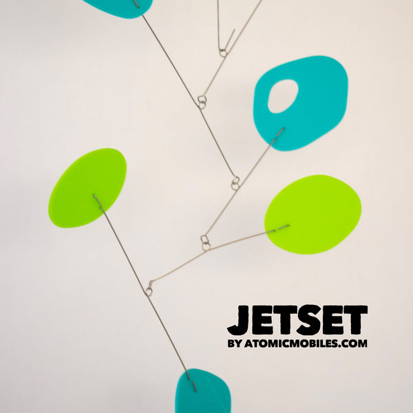 Super cool JetSet Modern Art Mobile by AtomicMobiles.com in Lime Green and Aqua Blue