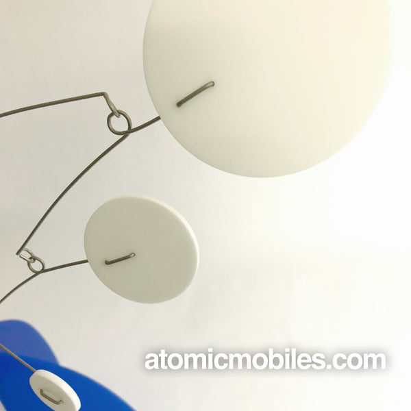 Closeup of beautiful mod blue and white table top mobile - The Moderne Stabile - by AtomicMobiles.com