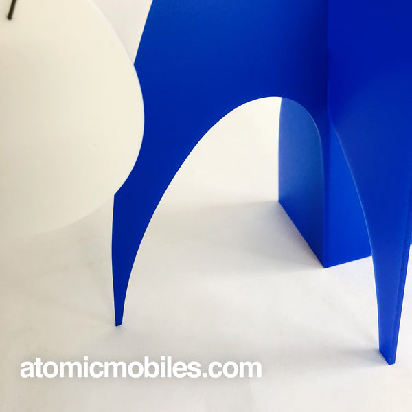 Closeup of gorgeous mod blue and white table top mobile - The Moderne Stabile - by AtomicMobiles.com