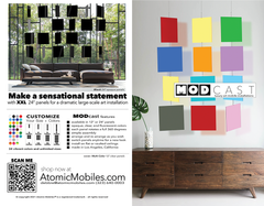 MODcast luxury art mobiles flyer - front and back - by AtomicMobiles.com