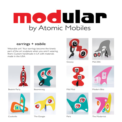 MODular modern art stabiles with kinetic earrings in 10 styles - Wearable Art! - by AtomicMobiles.com